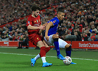 5th January 2020; Anfield, Liverpool, Merseyside, England; English FA Cup Football, Liverpool versus Everton; Richarlison of Everton shields the ball from Neco Williams of Liverpool - Strictly Editorial Use Only. No use with unauthorized audio, video, data, fixture lists, club/league logos or 'live' services. Online in-match use limited to 120 images, no video emulation. No use in betting, games or single club/league/player publications