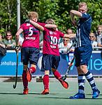 DEN HAAG -  Koen Bijen (HCKZ) brengt de stand op  0-1 tijdens  de eerste Play out wedstrijd hoofdklasse heren ,  HDM-HCKZ (1-2) . links Ruben Versteeg (HCKZ) . COPYRIGHT KOEN SUYK