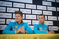 Jakob Fuglsang (DEN/Astana) &amp; Vincenzo Nibali (ITA/Astana) at the pr&eacute;-race press conference in Leeds<br /> <br /> Tour de France 2014