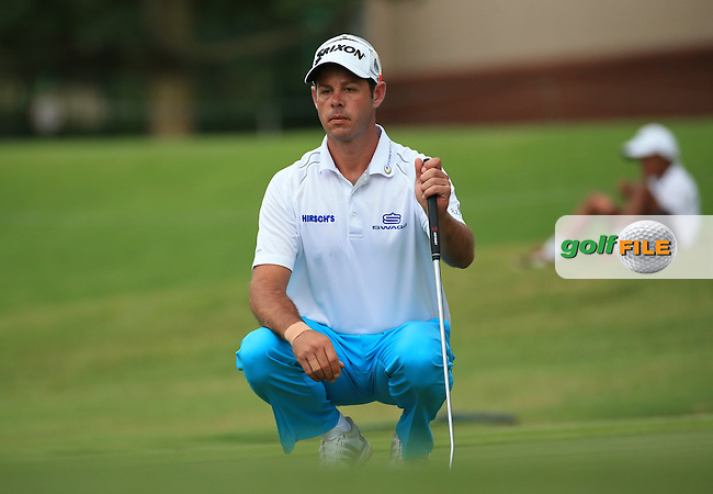 Jaco Van Zyl (RSA) eyes up the final putt of Round Three of the 2016 BMW SA Open hosted by City of Ekurhuleni, played at the Glendower Golf Club, Gauteng, Johannesburg, South Africa.  09/01/2016. Picture: Golffile | David Lloyd<br /> <br /> All photos usage must carry mandatory copyright credit (&copy; Golffile | David Lloyd)