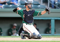 April 20, 2009: Catcher Kyle Skipworth (8) of the Greensboro Grasshoppers, Class A affiliate of the Florida Marlins, in a game against the Greenville Drive at Fluor Field at the West End in Greenville, S.C. Skipworth, drafted in the first round in 2008, is listed as the No. 7 prospect in the Marlins organization.  Photo by: Tom Priddy/Four Seam Images
