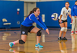 18 October 2015: Yeshiva University Maccabee Setter, Defensive Specialist, and team co-Captain Aliza Muller, a Senior from Los Angeles, CA, bumps during game action against the College of Mount Saint Vincent Dolphins at the Peter Sharp Center, in Riverdale, NY. The Dolphins defeated the Maccabees 3-0 in the NCAA Division III Women's Volleyball Skyline matchup. Mandatory Credit: Ed Wolfstein Photo *** RAW (NEF) Image File Available ***