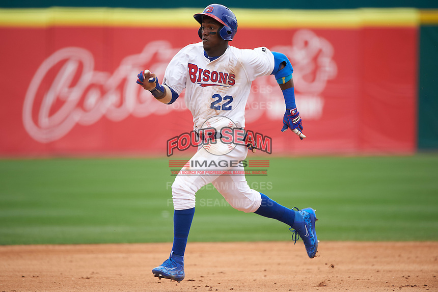 Buffalo Bisons center fielder Junior Lake (22) running the bases during a game against the Louisville Bats on June 23, 2016 at Coca-Cola Field in Buffalo, New York.  Buffalo defeated Louisville 9-6.  (Mike Janes/Four Seam Images)