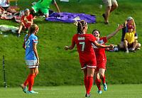 BOYDS, MD - May 26 2014: Christine Nairn of the Washington Spirit after scoring the winning goal during Washington Spirit v Houston Dash NWSL match at Maryland Sportsplex, in Boyds, Maryland. Spirit won 3-2.
