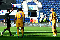 Wigan Athletic's Darron Gibson is shown a red card by Referee Lee Probert<br /> <br /> Photographer Richard Martin-Roberts/CameraSport<br /> <br /> The EFL Sky Bet Championship - Preston North End v Wigan Athletic - Saturday 6th October 2018 - Deepdale Stadium - Preston<br /> <br /> World Copyright &not;&copy; 2018 CameraSport. All rights reserved. 43 Linden Ave. Countesthorpe. Leicester. England. LE8 5PG - Tel: +44 (0) 116 277 4147 - admin@camerasport.com - www.camerasport.com