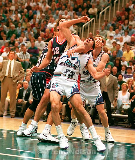 Houston's Matt Maloney elbows Utah's John Stockton in the chin at Utah Jazz vs. Houston Rockets, game 2 of the 1st round, NBA Playoffs.<br />