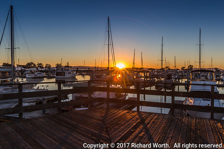 Sunset and a sunburst viewed from an observation deck at a marina populated with sailboats, their masts at attention.
