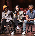 "Christina Glur, Gabriella Sorrentino, Tré Smith during the Q & A before The Rockefeller Foundation and The Gilder Lehrman Institute of American History sponsored High School student #eduHAM matinee performance of ""Hamilton"" at the Richard Rodgers Theatre on June 5, 2019 in New York City."