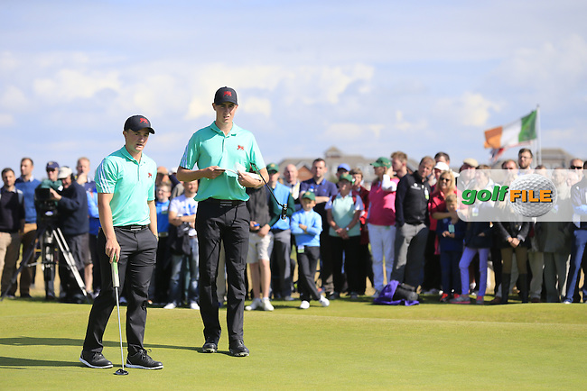 Paul Dunne (IRL), Gary Hurley (IRL) during the sunday morning foursomes for the Walker Cup, Royal Lytham St Annes, Lytham St Annes, Lancashire, England. 13/09/2015<br /> Picture Golffile | Fran Caffrey<br /> <br /> <br /> All photo usage must carry mandatory copyright credit (&copy; Golffile | Fran Caffrey)