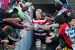 Jamie Chipman leads the Steelers out for the ITM Cup rugby game between Counties Manukau and Manawatu played at Bayer Growers Stadium on Saturday August 21st 2010..Counties Manukau won 35 - 14 after leading 14 - 7 at halftime.