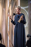 Frances McDormand accepts the Golden Globe Award for BEST PERFORMANCE BY AN ACTRESS IN A MOTION PICTURE &ndash; DRAMA for her role in &quot;Three Billboards Outside Ebbing, Missouri&quot; at the 75th Annual Golden Globe Awards at the Beverly Hilton in Beverly Hills, CA on Sunday, January 7, 2018.<br /> *Editorial Use Only*<br /> CAP/PLF/HFPA<br /> &copy;HFPA/PLF/Capital Pictures