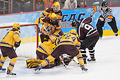 Kyle Rau (MN - 7), Hudson Fasching (MN - 24), Adam Wilcox (MN - 32), Mike Reilly (MN - 5), Mike Reilly (MN - 5), Daniel Carr (Union - 9) (Miller) - The Union College Dutchmen defeated the University of Minnesota Golden Gophers 7-4 to win the 2014 NCAA D1 men's national championship on Saturday, April 12, 2014, at the Wells Fargo Center in Philadelphia, Pennsylvania.