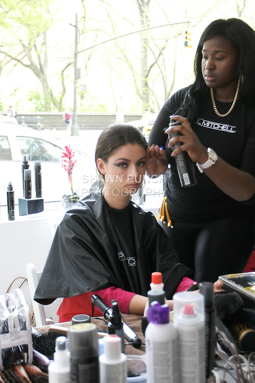 """Backstage hair and makup at the Anne Bowen Bridal Spring 2013 """"Coat of Arms"""" collection fashion show, during Bridal Fashion Week New York April 2012."""