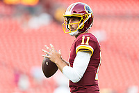Landover, MD - August 16, 2018: Washington Redskins quarterback Alex Smith (11) warms up before preseason game between the New York Jets and Washington Redskins at FedEx Field in Landover, MD. (Photo by Phillip Peters/Media Images International)