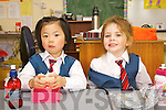 Cyrena Ong and Abbie Canty pictured on their first day of school at Balloonagh primary, Tralee on Thursday.
