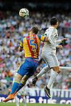 Real Madrid´s Cristiano Ronaldo and Valencia´s Shkodran Mustafi during 2014-15 La Liga match between Real Madrid and Valencia at Santiago Bernabeu stadium in Madrid, Spain. May 09, 2015. (ALTERPHOTOS/Luis Fernandez)