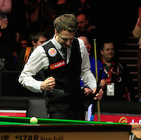 Judd Trump celebrates beating Neil Robertson 6-5 in the Dafabet Masters Quarter Final 2 match between Judd Trump and Neil Robertson at Alexandra Palace, London, England on 15 January 2016. Photo by Liam Smith / PRiME Media Images.