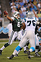 MARK SANCHEZ, of the New York Jets in action during the Jets game against the Carolina Panthers  at Bank of America Stadium in Charlotte, N.C.  on August 21, 2010.  The Jets beat the Panthters 9-3 in the second week of preseason games...