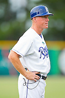 Burlington Royals manager Tommy Shields (19) coaches third base during the Appalachian League game against the Danville Braves at Burlington Athletic Park on July 18, 2012 in Burlington, North Carolina.  The Royals defeated the Braves 4-3 in 11 innings.  (Brian Westerholt/Four Seam Images)