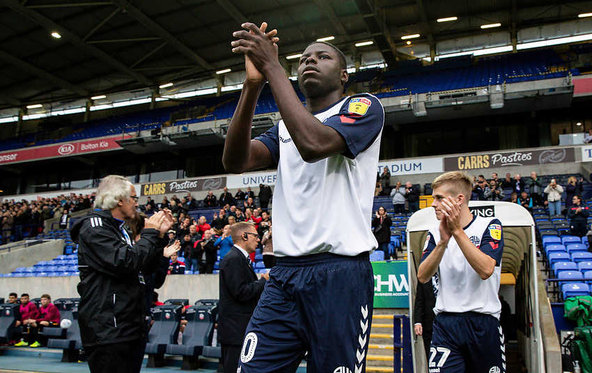 Bolton Wanderers' Yoan Zouma takes to the pitch<br /> <br /> Photographer Andrew Kearns/CameraSport<br /> <br /> EFL Leasing.com Trophy - Northern Section - Group F - Bolton Wanderers v Bradford City -  Tuesday 3rd September 2019 - University of Bolton Stadium - Bolton<br />  <br /> World Copyright © 2018 CameraSport. All rights reserved. 43 Linden Ave. Countesthorpe. Leicester. England. LE8 5PG - Tel: +44 (0) 116 277 4147 - admin@camerasport.com - www.camerasport.com