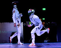 BOGOTA – COLOMBIA – 28 – 05 – 2017: Emese Szasz-Kovacs (Der.) de Hungria, celebra el punto sobre Man Wai Vivian Kong (Izq.) de Hong Kong, durante la Final Damas Mayores Epee del Gran Prix de Espada Bogota 2017, que se realiza en el Centro de Alto Rendimiento en Altura, del 26 al 28 de mayo del presente año en la ciudad de Bogota.  / Emese Szasz-Kovacs (R) from Hungary, celebrates the point over Man Wai Vivian Kong (L) from Hong Kong, during the Finals Senior Women´s Epee of the Grand Prix of Espada Bogota 2017, that takes place in the Center of High Performance in Height, from the 26 to the 28 of May of the present year in The city of Bogota.  / Photo: VizzorImage / Luis Ramirez / Staff.