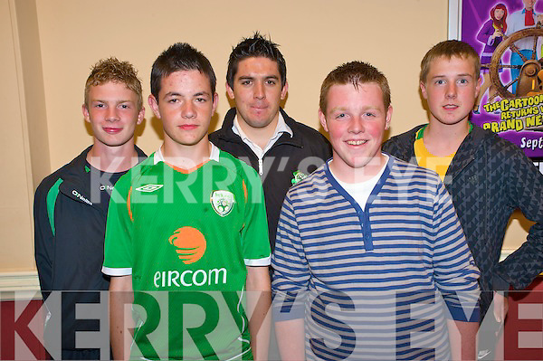 Pictured at the Kerry Schoolboy soccer awards night in the Gleneagle on Friday night were Tomas Templeman, Denis O'Riordan, John Kelliher, John Doona and Danny Sheehan, Killarney Celtic.....