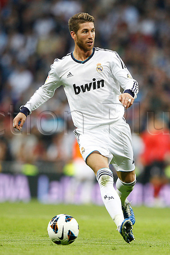 20.10.2012 Madrid, Spain.  La Liga football. Real Madrid CF vs  Celta (2-0) at Santiago Bernabeu stadium. The picture shows Sergio Ramos (Spanish defender of Real Madrid)