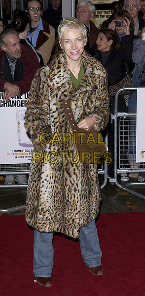 ANNIE LENNOX.Arrives at the DVD launch premiere screening of Live Aid, Odeon Kensington, London, November 8th 2004..full length leopard print coat.Ref: FIN.www.capitalpictures.com.sales@capitalpictures.com.©Steve Finn/Capital Pictures .