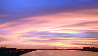 Marina Del Rey, CA, USA, Fiery, Sunset, Sky, Background, Barge, Dredging, Channel,