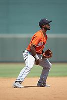 Buies Creek Astros third baseman Osvaldo Duarte (2) on defense against the Winston-Salem Dash at BB&T Ballpark on July 15, 2018 in Winston-Salem, North Carolina. The Dash defeated the Astros 6-4. (Brian Westerholt/Four Seam Images)