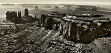 USA, Arizona, Utah, aerial view of Monument Valley, Navajo Tribal Park (B&W)