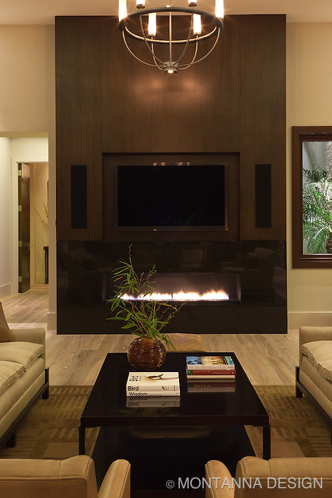 Ribbon fireplace with granite and wood  finishes for a multi-purpose feature wall