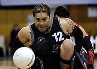Clayton Utia in action during the 2017 International Wheelchair Rugby Federation Asia-Oceania Zone Championships tournament match between the New Zealand Wheel Blacks and Japan at ASB Stadium in Auckland, New Zealand on Thursday, 31 August 2017. Photo: Dave Lintott / lintottphoto.co.nz