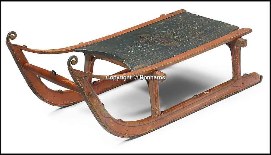 BNPS.co.uk (01202 558833)<br /> Pic: Bonhams/BNPS<br /> <br /> An iconic 'Rosebud' sled from Orson Welles' legendary Citizen Kane which was gifted to the film's writer has emerged for sale for £130,000.<br /> <br /> The Victorian-style wooden sled was a present to screenwriter Herman Mankiewicz who had co-written the timeless 1941 movie with Welles. <br /> <br /> Four sleds were used during the filming of the movie but this one was sourced by producers once filming was over and made to look like one of the props.<br /> <br /> It is tipped to fetch $200,000 - or £130,000 - when it goes under the hammer at Bonhams auction house.