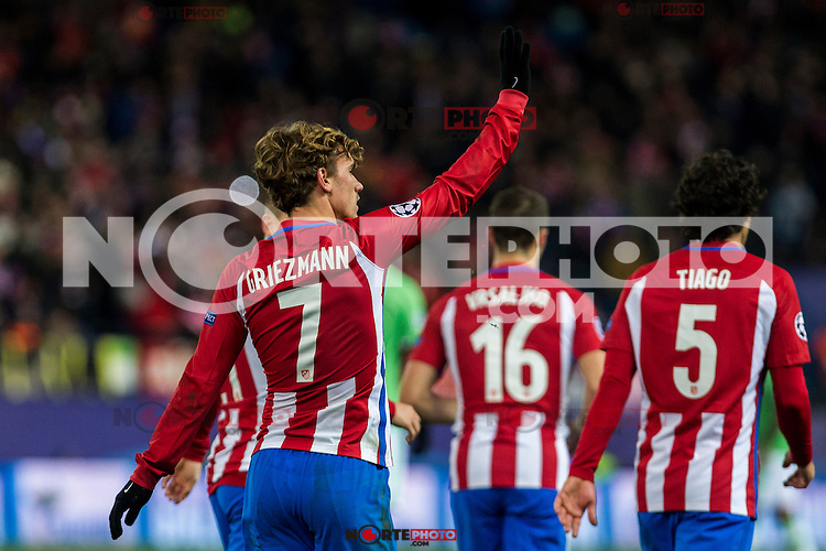Atletico de Madrid's Antoine Griezmann, Tiago Mendes, Gabi Fernandez  during the Champions League match between Atletico de Madrid and PSV Eindhoven at Vicente Calderon Stadium in Madrid , Spain. November 23, 2016. (ALTERPHOTOS/Rodrigo Jimenez) //NORTEPHOTO