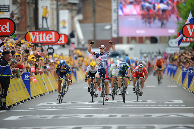 Andre Greipel (GER) Lotto-Belisol wins his 2nd sprint finish at the end of Stage 5 running from Rouen - Saint Quentin during the 99th edition of the Tour de France, 5th July 2012 (Photo by Tim de Waele/ASO/NEWSFILE)