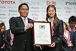 Kazumi Ohigashi, Homare Sawa (Leonessa), November 13, 2012 - Football / Soccer : Plenus Nadeshiko LEAGUE 2012 Award ceremony in Tokyo, Japan. (Photo by Yusuke Nakanishi/AFLO SPORT).