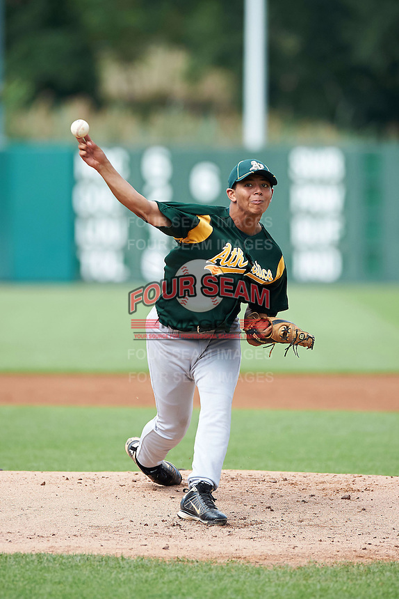 Clinton Hollon #55 of Woodford County High School in Versailles, Kentucky playing for the Oakland Athletics scout team during the East Coast Pro Showcase at Alliance Bank Stadium on August 1, 2012 in Syracuse, New York. (Mike Janes/Four Seam Images)