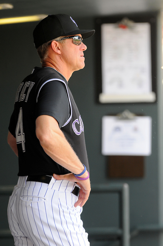 27 MAY 2010: Colorado Rockies manager Jim Tracy during a regular season Major League Baseball game between the Colorado Rockies and the Arizona Diamondbacks at Coors Field in Denver, Colorado. The Rockies beat the Diamondbacks 8-2. *****For Editorial Use Only*****