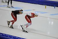 SCHAATSEN: HEERENVEEN: 24-10-2014, IJsstadion Thialf, Topsporttraining, Lotte van Beek, Jan Blokhuijsen, ©foto Martin de Jong