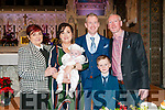 Baby Aodhan White with his parents Nicola Heffernan & Donal White, Listowel, godmother Christine Hehhernan who was standing in for Karen Heffernan and godfather Tony White and brother Jack Heffernan. Kieran White was christened in St Mary's Church Listowel by Canon Declan O'Connor on Saturday last and afterwards at the Listowel Arms  Hotel.