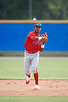Philadelphia Phillies Luis Garcia (5) throws to first base during an Instructional League game against the Toronto Blue Jays on October 7, 2017 at the Englebert Complex in Dunedin, Florida.  (Mike Janes/Four Seam Images)