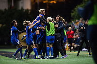 Seattle, Washington -  Sunday, September 11 2016: Seattle Reign FC  celebrate during a regular season National Women's Soccer League (NWSL) match between the Seattle Reign FC and the Washington Spirit at Memorial Stadium. Seattle won 2-0.
