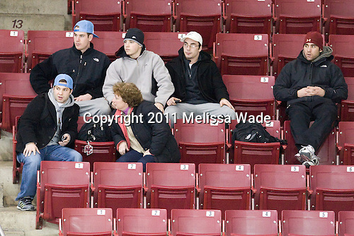 Jimmy Hayes (BC - 10), Cam Atkinson (BC - 13), Barry Almeida (BC - 9), Tommy Cross (BC - 4) - Joe Whitney (BC - 15) - The Boston College Eagles defeated the Harvard University Crimson 3-1 to win the 2011 Beanpot championship on Tuesday, February 15, 2011, at Conte Forum in Chestnut Hill, Massachusetts.
