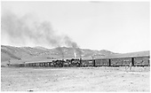 The final Powderhorn D&amp;RGW stock train leaving Sargent eastbound for Marshall Pass and Salida with #483 and #480 as mid-train helpers.  #489 is leading, but is out-of-sight and #482 is the rear helper.<br /> D&amp;RGW  Sargent (e. of), CO  Taken by Richardson, Robert W. - 10/9/1953