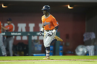 Josh Anthony (3) of the Auburn Tigers jogs towards home plate after hitting a home run against the Army Black Knights at Doak Field at Dail Park on June 2, 2018 in Raleigh, North Carolina. The Tigers defeated the Black Knights 12-1. (Brian Westerholt/Four Seam Images)
