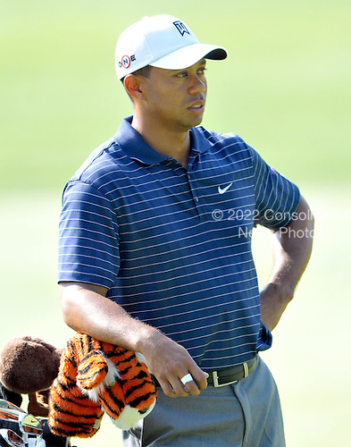 Bethesda, MD - July 1, 2009 -- Tiger Woods waits for his turn as other members of his foursome play during the Earl Woods Memorial Pro-Am prior  to the AT&T National Hosted by Tiger Woods at Congressional Country Club in Bethesda, Maryland on Wednesday, July 1, 2009..Credit: Ron Sachs / CNP