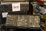 Box of type matrixes by the 1921 Linotype machine used by Dean Coombs, third generation newspaperman at the Saguache Crescent Newspaper, last of the hot metal newspapers in the U.S.
