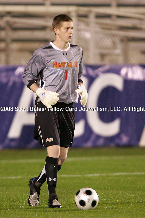 14 November 2008: Maryland's Zac MacMath. The University of Maryland defeated Boston College 1-0 at WakeMed Stadium at WakeMed Soccer Park in Cary, NC in a men's ACC tournament semifinal game.