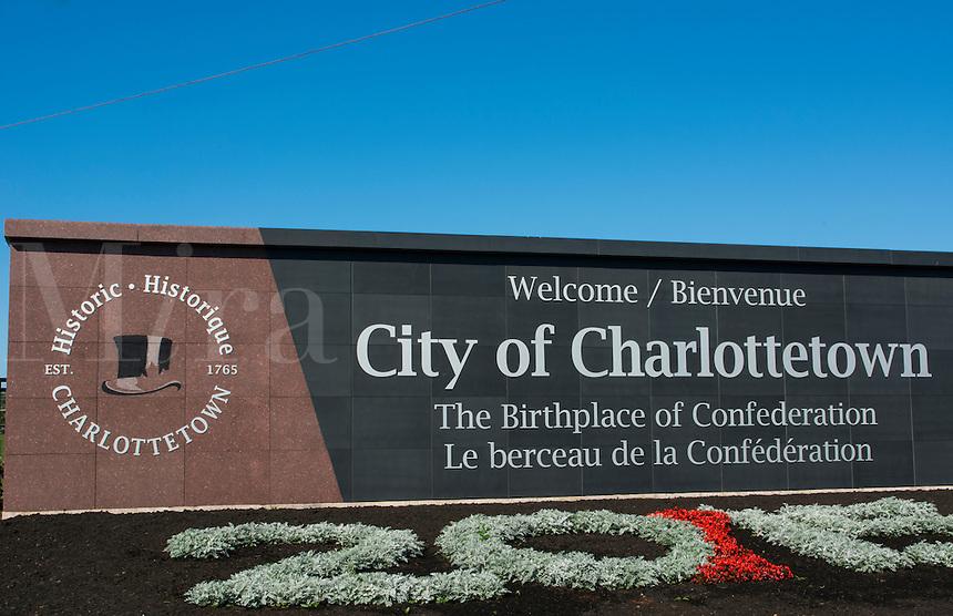 Canada Prince Edward Island, P.E.I. Charlottetown welcome sign birthplace of the Confederation